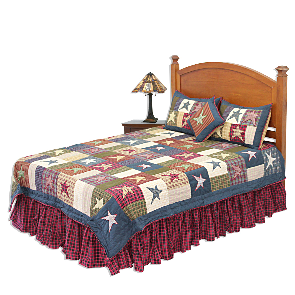 Foreverinseason Com Hand Quilted Cotton Patchwork King Quilt Homespun Stars From Patch Magic
